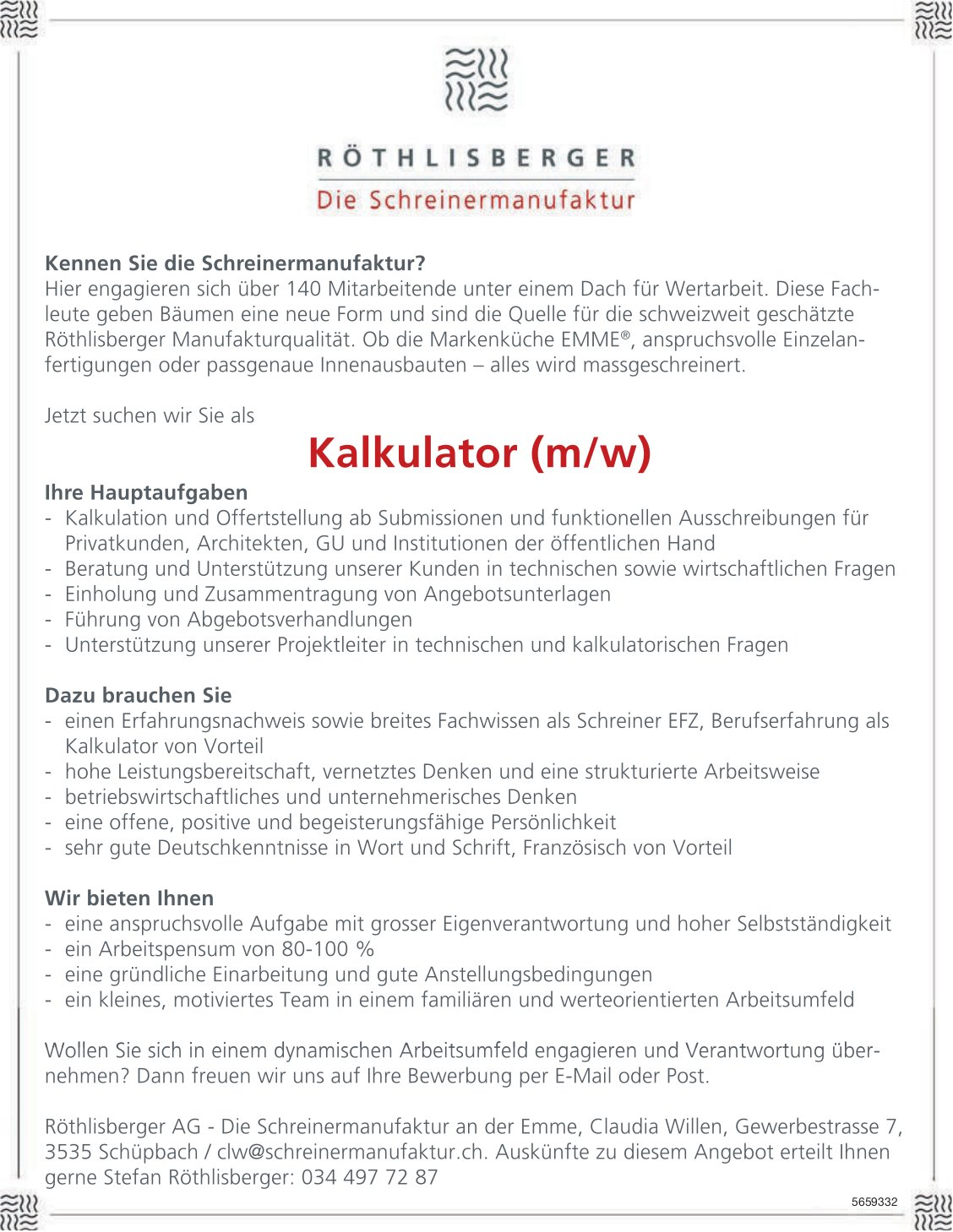 Kalkulator (m/w), Röthlisberger AG, Schüpbach, gesucht