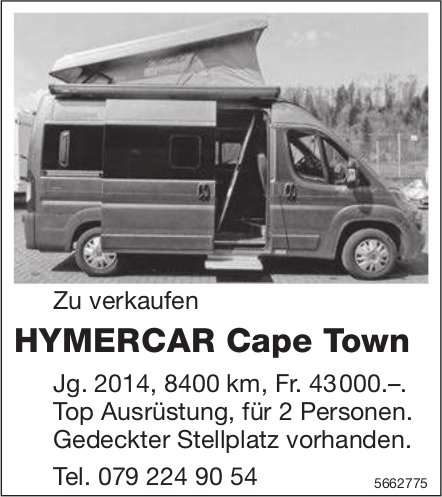 HYMERCAR Cape Town zu verkaufen