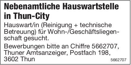 Nebenamtliche Hauswartstelle in Thun-City, Thun, zu vergeben