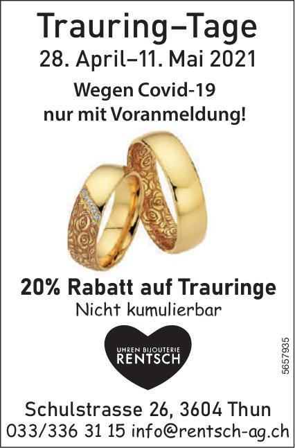 Trauring–Tage mit 20% Rabatt auf Trauringe, 28. April - 11. Mai, Thun