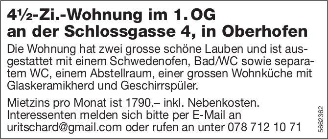 4½-Zi.-Wohnung im 1. OG, Oberhofen, zu vermieten