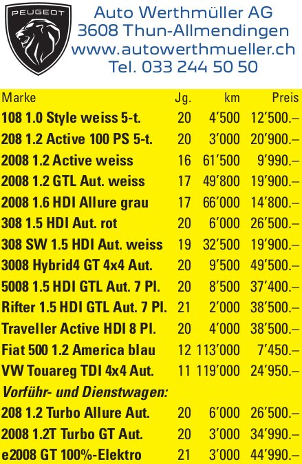 Auto Werthmüller AG, Thun - Occasionenmarkt