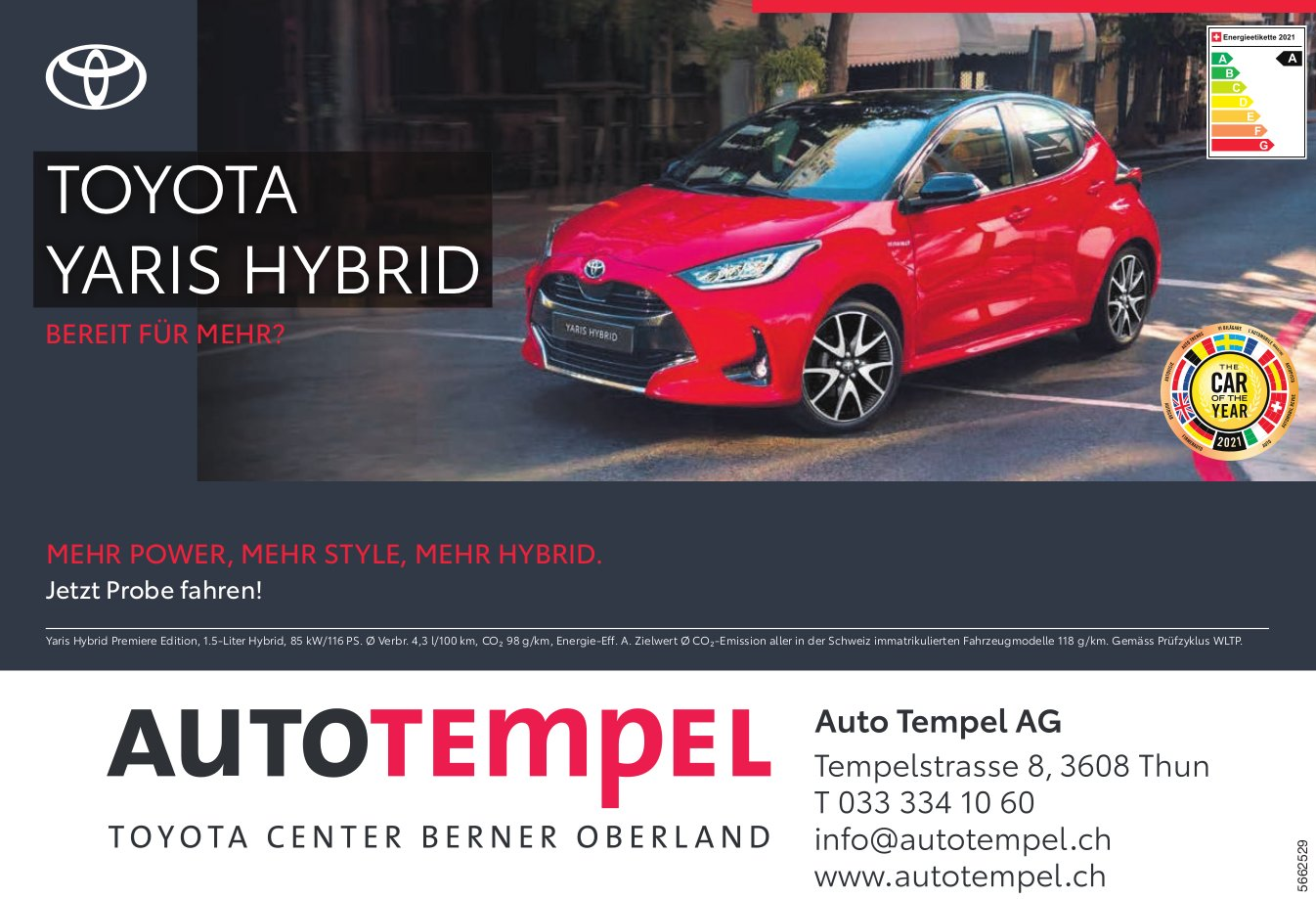 Auto Tempel AG - Toyota Yaris Hybrid