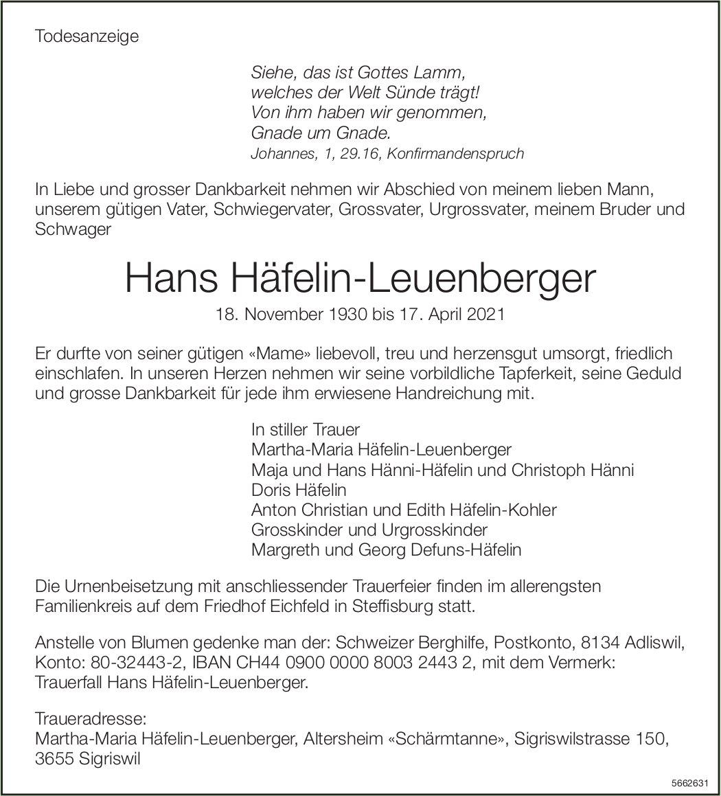 Häfelin-Leuenberger Hans, April 2021 / TA