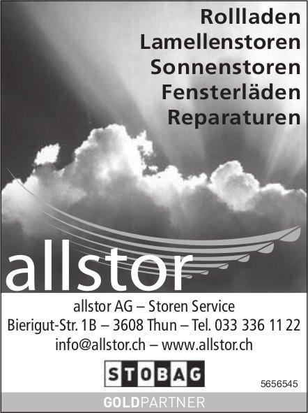 Allstor AG, Thun - Rollladen, Lamellenstoren, Sonnenstoren, Fensterläden & Reparaturen
