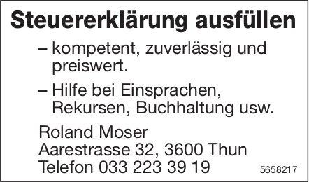 Roland Moser, Thun - Steuererklärung ausfüllen
