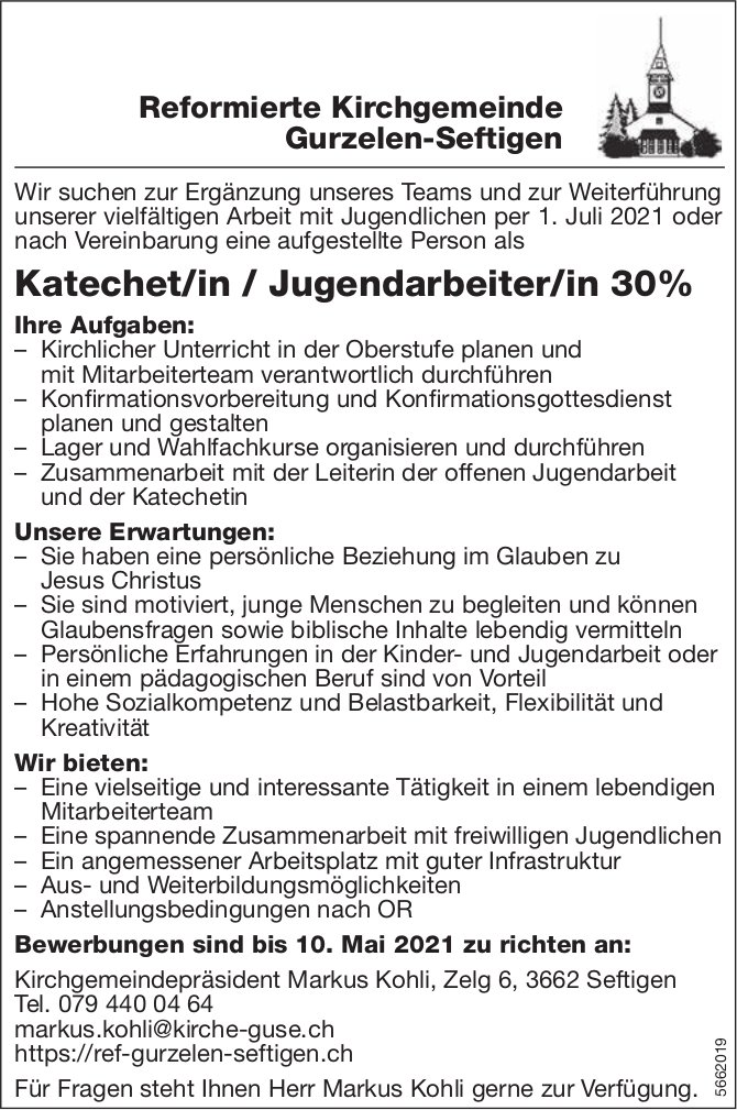 Katechet/in / Jugendarbeiter/in 30%, Reformierte Kirchgemeinde, Gurzelen-Seftigen, gesucht
