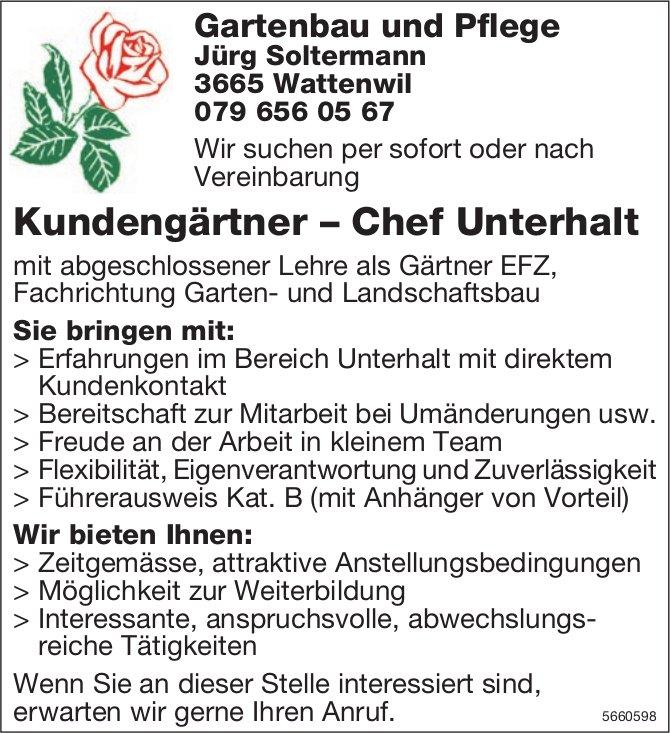 Kundengärtner – Chef Unterhalt, Jürg Soltermann, Gartenbau und Pflege, Wattenwil, gesucht