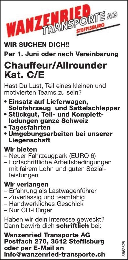 Chauffeur/Allrounder Kat. C/E, Wanzenried Transporte AG, Steffisburg, gesucht