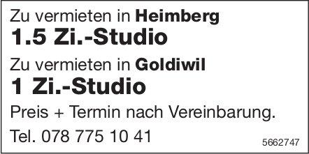 1.5 Zi.-Studio in Heimberg und 1 Zi.-Studio in Goldiwil, zu vermieten