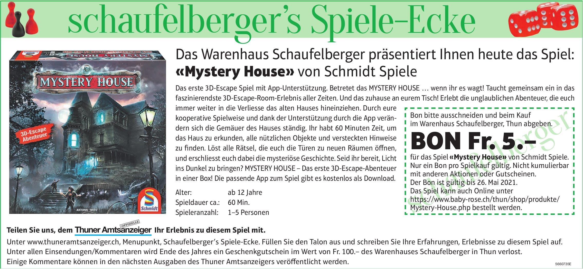 Das Warenhaus Schaufelberger präsentiert Ihnen heute das Spiel: «Mystery House» von Schmidt Spiele