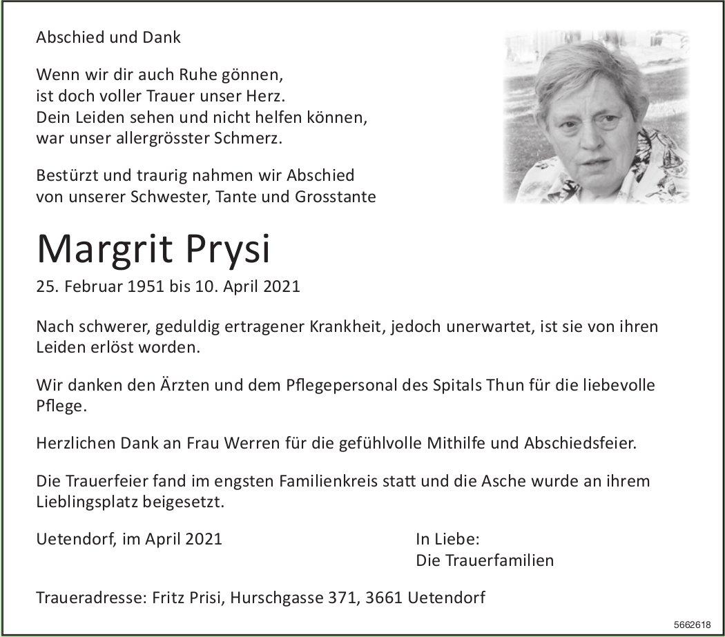 Prysi Margrit, April 2021 / TA + DS
