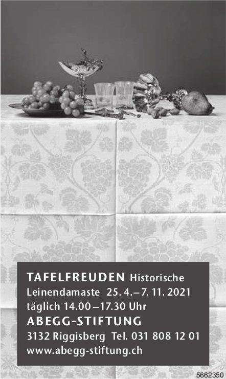 Tafelfreuden Historische Leinendamaste 25. 4.– 7. 11. 2021, 25. April, Abegg Stiftung, Riggisberg