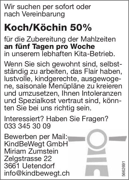 Koch/Köchin 50%, KindBeWegt GmbH, Uetendorf, gesucht