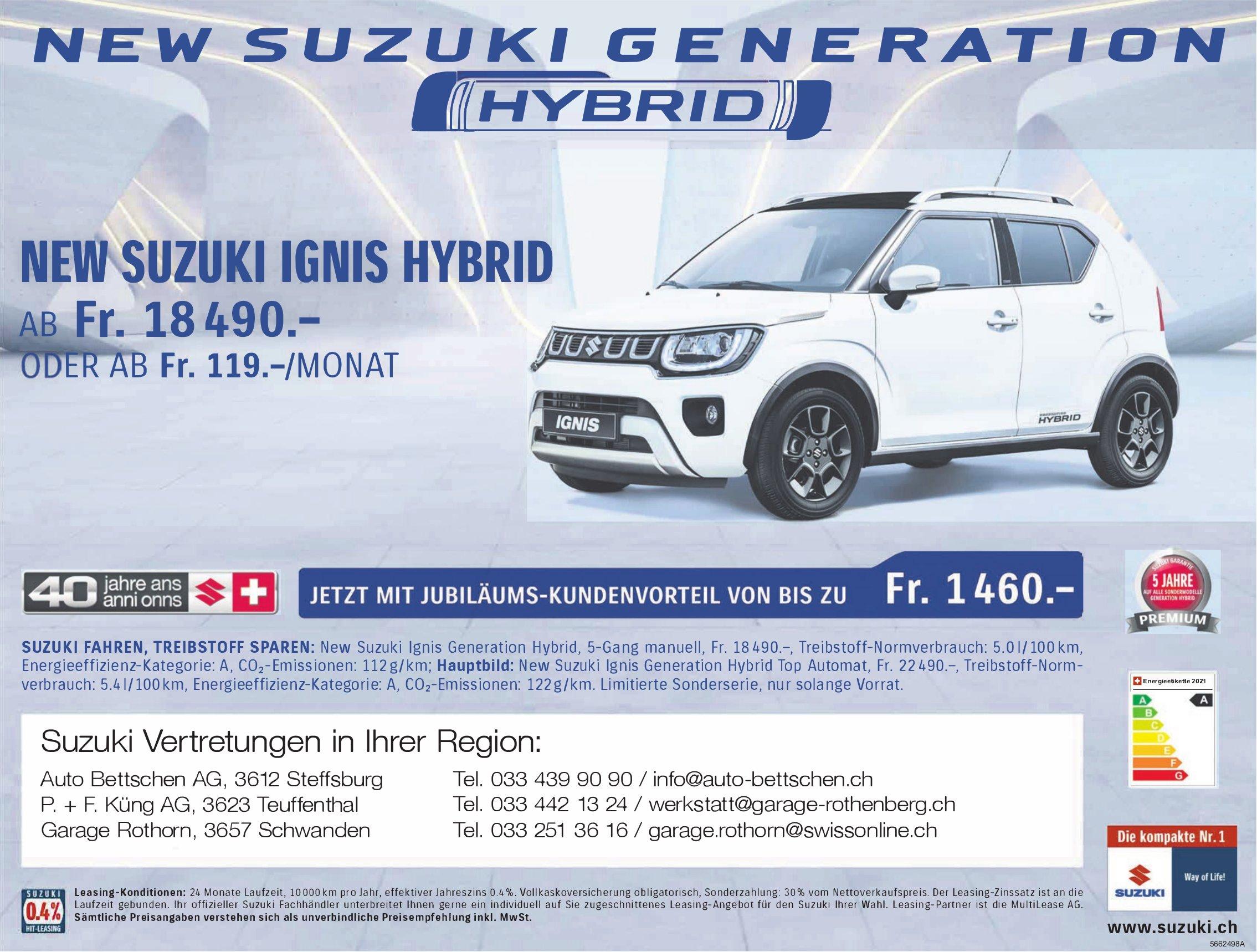 Auto Bettschen AG, Steffisburg - New SUZUKI Generation Hybrid
