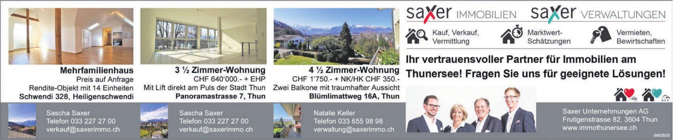 Saxer Unternehmungen AG - Ihr vertrauensvoller Partner für Immobilien am Thunersee! Fragen Sie uns für geeignete Lösungen!
