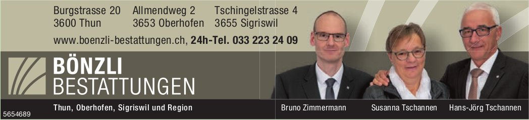 Bönzli Bestattungen, Thun, Oberhofen & Sigriswil