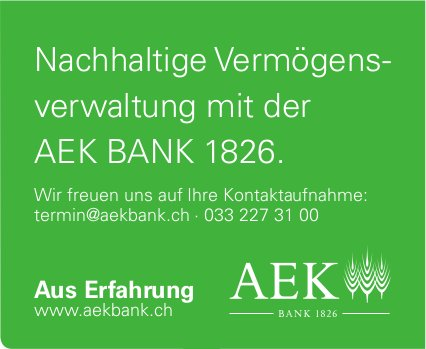 AEK BANK - Nachhaltige Vermögensverwaltung mit der AEK BANK 1826.