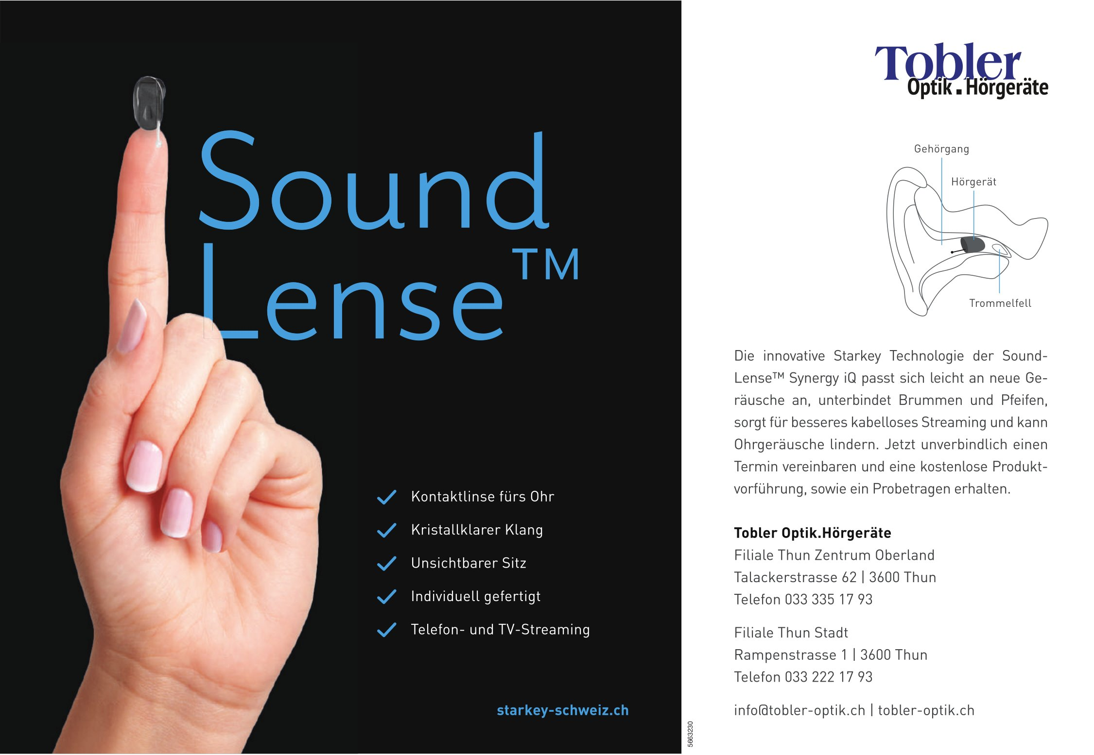 Sound Lense TM Synergy iQ - Tobler Optik.Hörgeräte, Thun