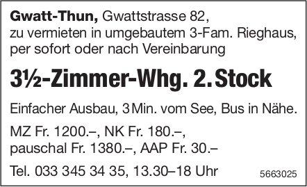 3½-Zimmer-Whg. 2. Stock, Gwatt-Thun, zu vermieten