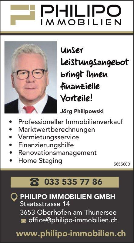 Philipo Immobilien GmbH, Oberhofen am Thunersee - Unser Leistungsangebot bringt Ihnen finanzielle Vorteile!