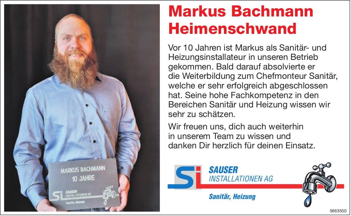 Sauser Installationen AG, Markus Bachmann, 10 Jahre