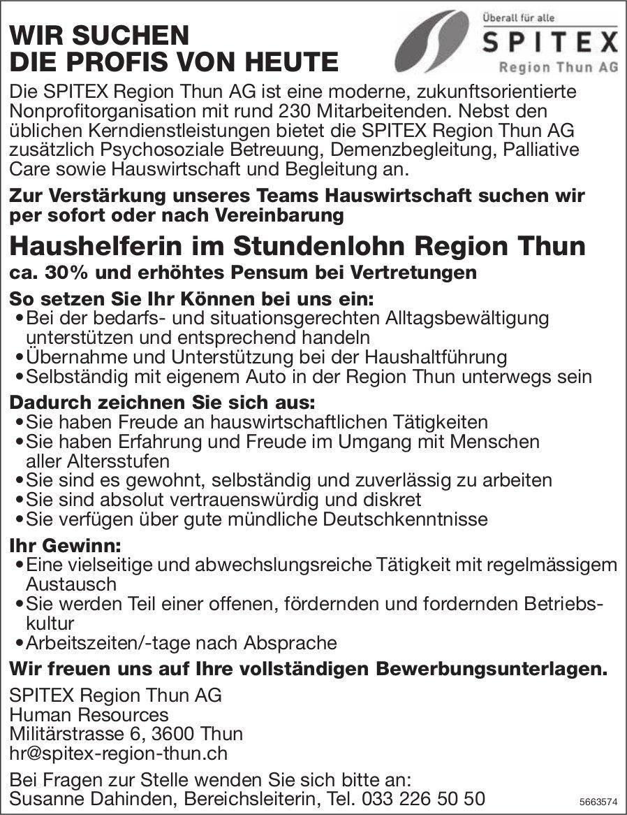 Haushelferin im Stundenlohn, SPITEX Region Thun AG, gesucht