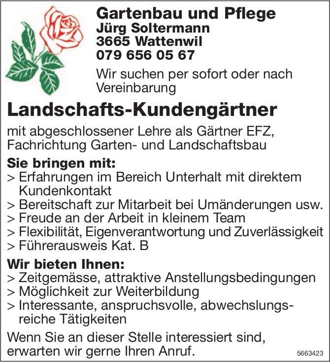 Landschafts-Kundengärtner, Gartenbau und Pflege, Jürg Soltermann, Wattenwil,  gesucht
