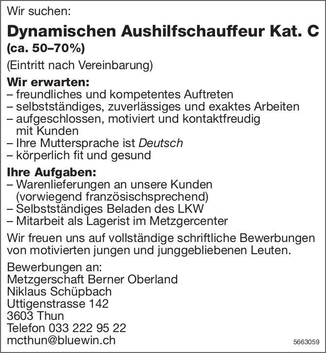 Dynamischer Aushilfschauffeur Kat.C (ca. 50–70%), Metzgerschaft Berner Oberland, Thun, gesucht