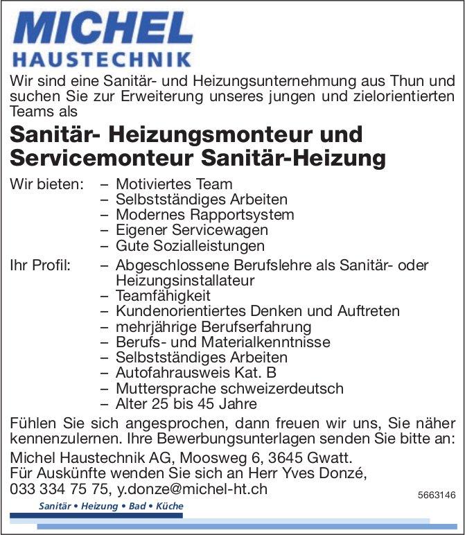 Sanitär- Heizungsmonteur und Servicemonteur Sanitär-Heizung, Michel Haustechnik AG, Gwatt, gesucht