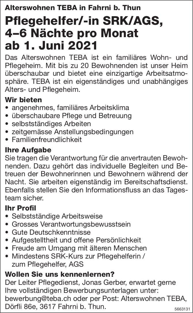 Pflegehelfer/-in SRK/AGS, 4–6 Nächte pro Monat, Alterswohnen TEBA, Fahrni b. Thun, gesucht