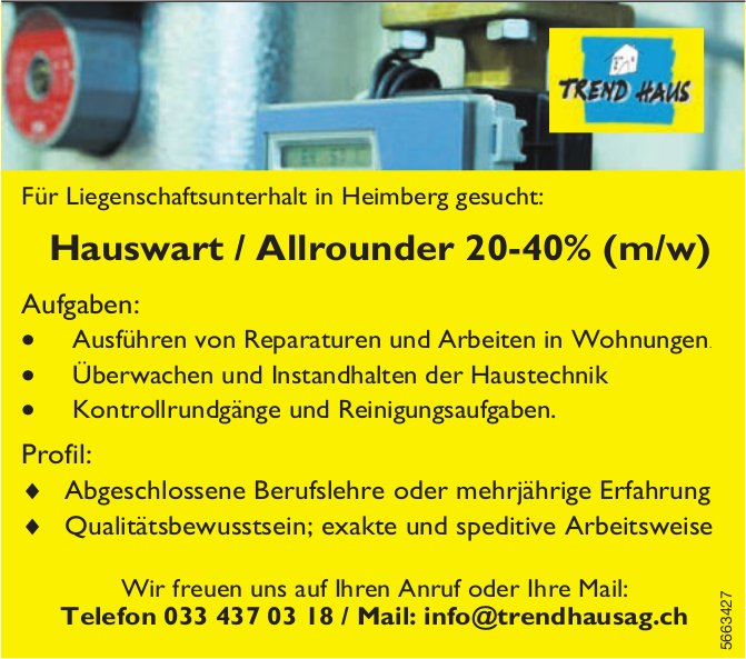 Hauswart / Allrounder 20-40% (m/w), Trend Haus AG, Heimberg, gesucht