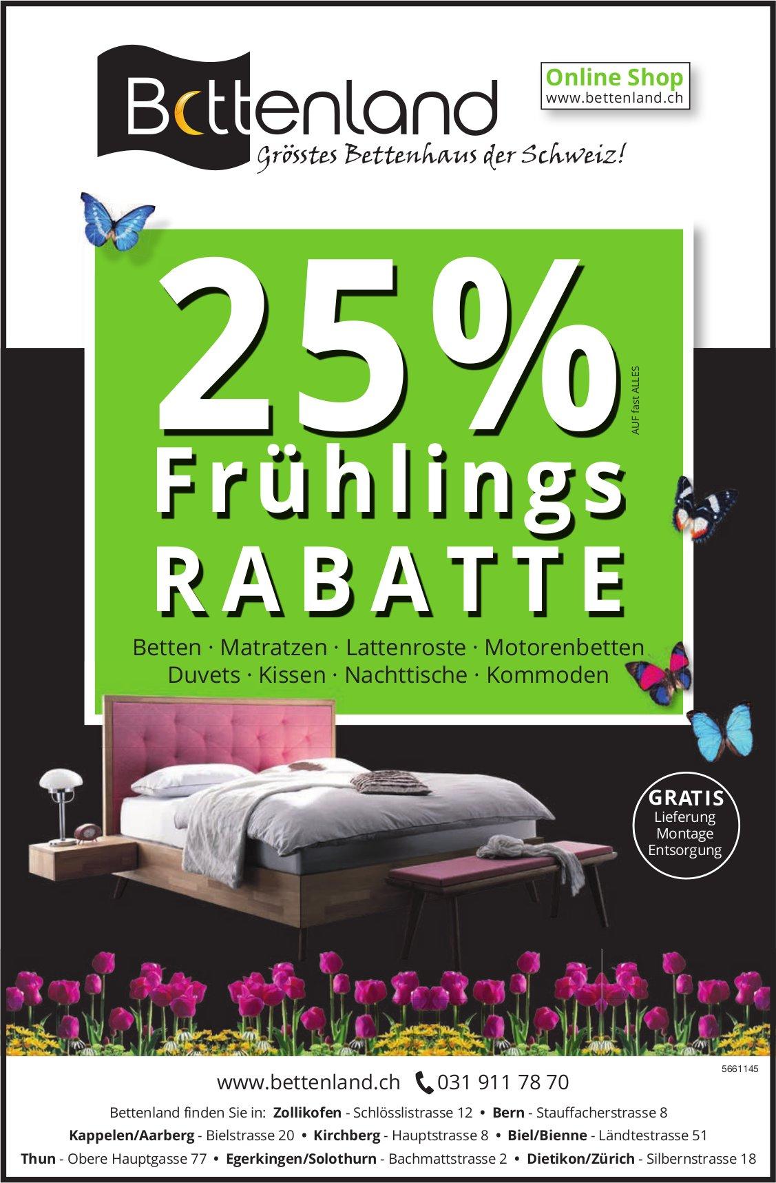 Bettenland - 25% Frühlings - Rabatte