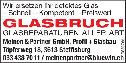 Meinen & Partner GmbH, Profil + Glasbau, Steffisburg - Glasbruch: Glasreparaturen aller Art
