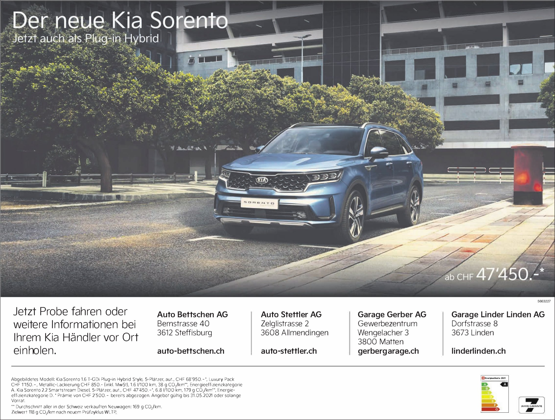 Auto Bettschen AG, Steffisburg - Der neue Kia Sorento: Jetzt auch als Plug-in-Hybrid