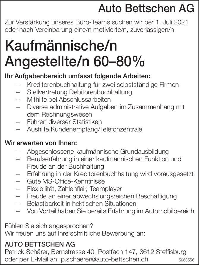 Kaufmännische/r Angestellte/r 60–80%, Auto Bettschen AG, Steffisburg, gesucht