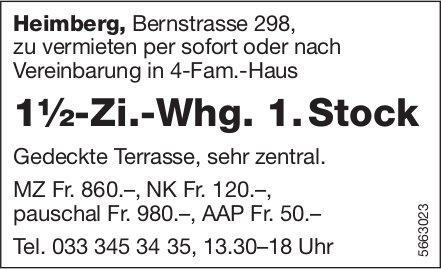 1½-Zi.-Whg. 1. Stock, Heimberg, zu vermieten