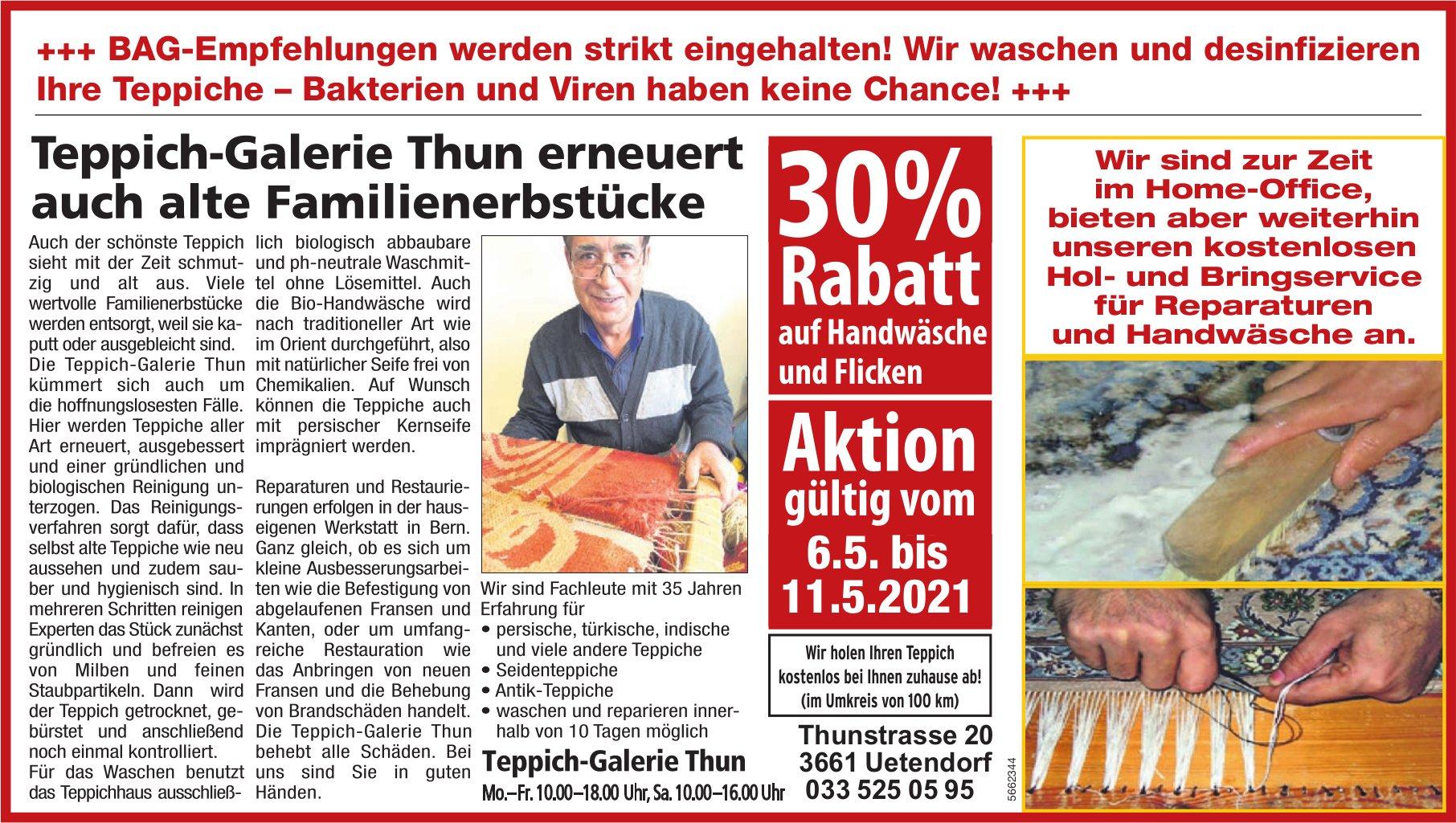 Teppich-Galerie Thun, Uetendorf - 30% Rabatt auf Handwäsche und Flicken bis 11. Mai
