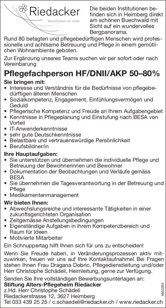 Pflegefachperson HF/DNII/AKP 50–80%, Stiftung Alters-Pflegeheim Riedacker, Heimberg, gesucht