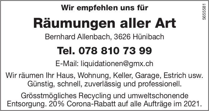 Bernhard Allenbach, Hünibach - Wir empfehlen uns für Räumungen aller Art
