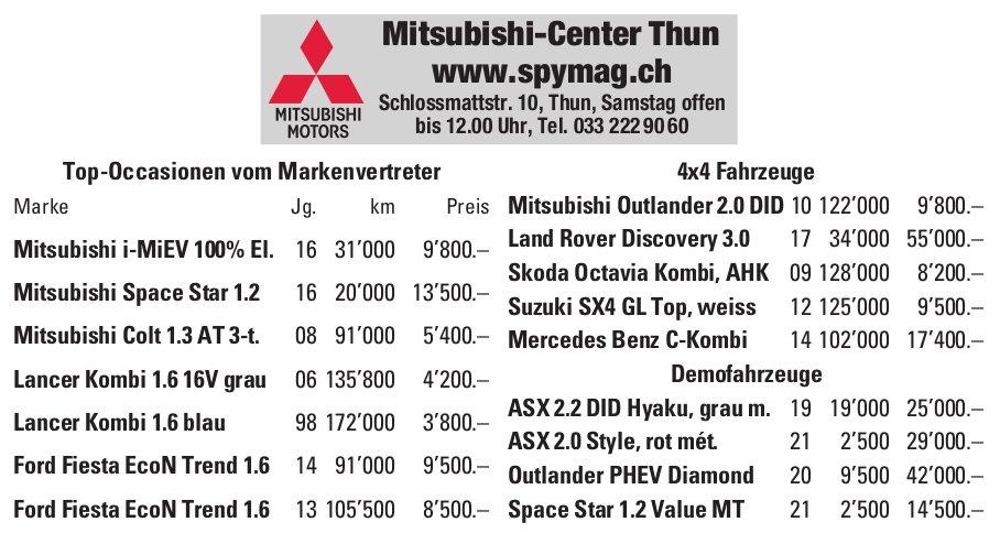 Spymag Mitsubishi-Center Thun - Occasionenmarkt