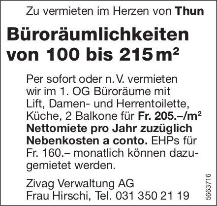 Büroräumlichkeiten von 100 bis 215 m2, Thun, zu vermieten