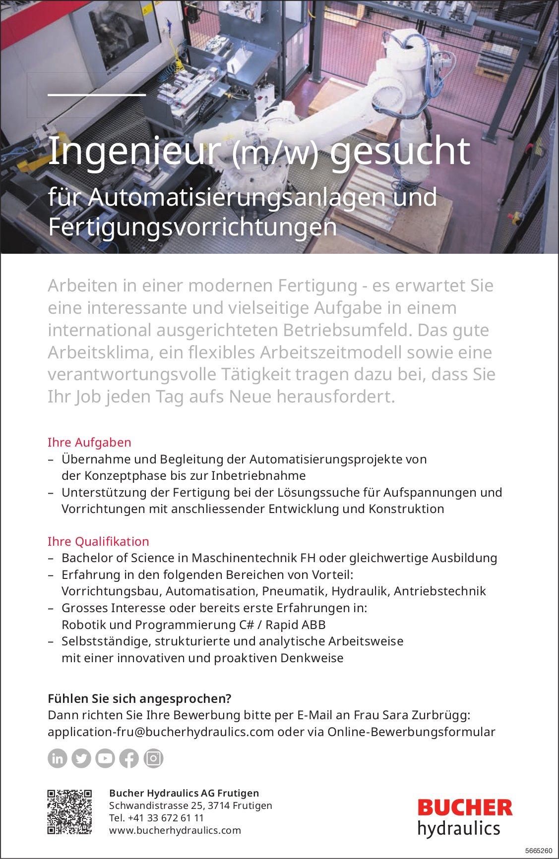 Ingenieur (m/w) für Automatisierungsanlagen und Fertigungsvorrichtungen, Bucher Hydraulics AG, Frutigen, gesucht