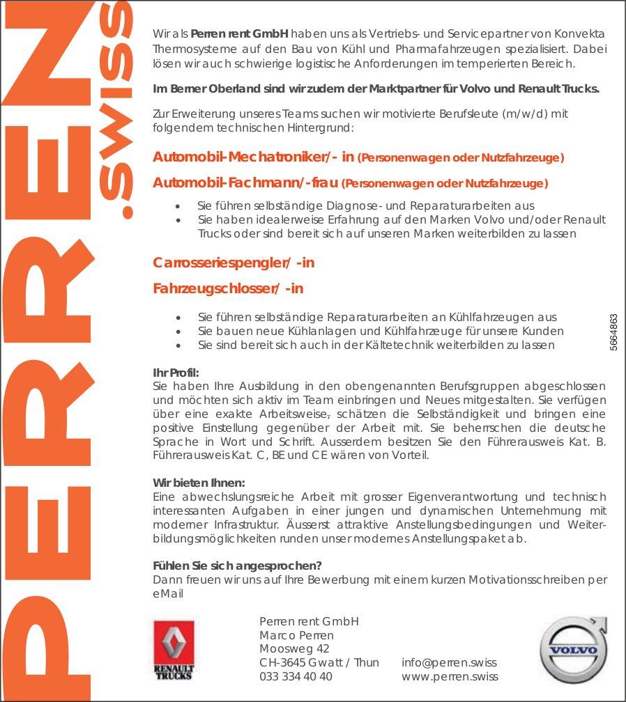 Automobil-Mechatroniker/- in Automobil-Fachmann/-frau Carrosseriespengler/ -in Fahrzeugschlosser/ -in, Perren rent GmbH, Gwatt, gesucht