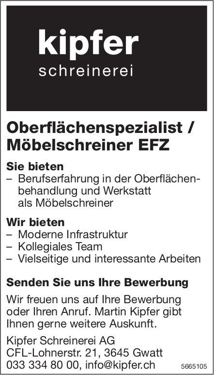 Oberflächenspezialist / Möbelschreiner EFZ, Kipfer Schreinerei AG, Gwatt, gesucht