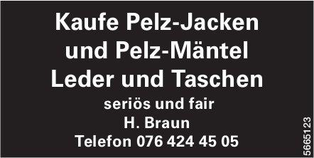 Kaufe Pelz-Jacken und Pelz-Mäntel, Leder und Taschen