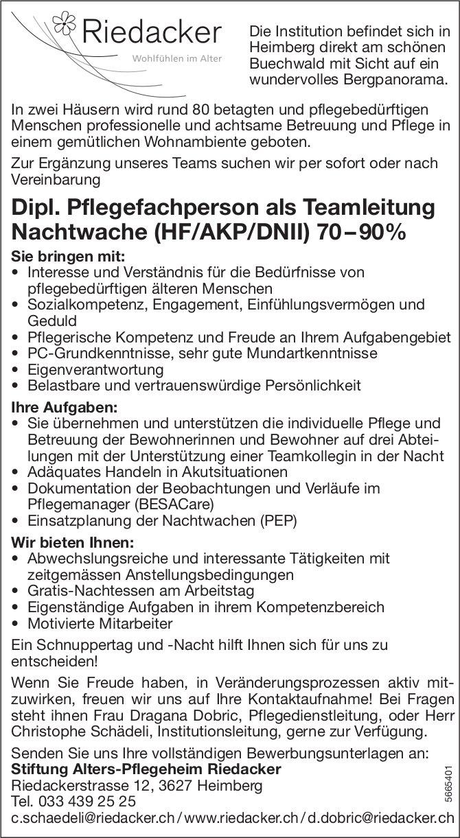 Dipl. Pflegefachperson als Teamleitung Nachtwache (HF/AKP/DNII) 70 – 90%, Stiftung Alters-Pflegeheim Riedacker, Heimberg, gesucht