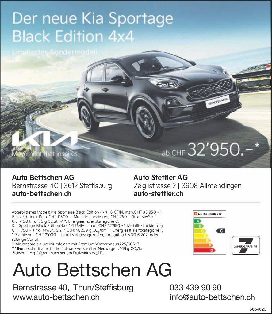 Auto Bettschen AG & Auto Stettler AG, Steffisburg & Allmendingen - Der neue Kia Sportage Black Edition 4x4