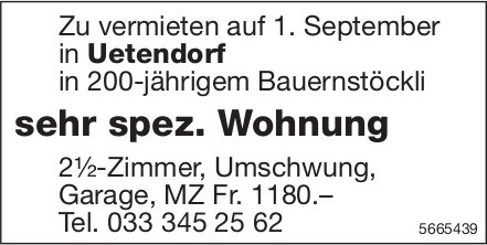 Sehr spez. Wohnung 2.5-Zimmer, Uetendorf, zu vermieten