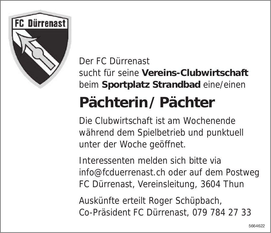 Pächterin / Pächter, Vereins-Clubwirtschaft FC Dürrenast, Thun, gesucht